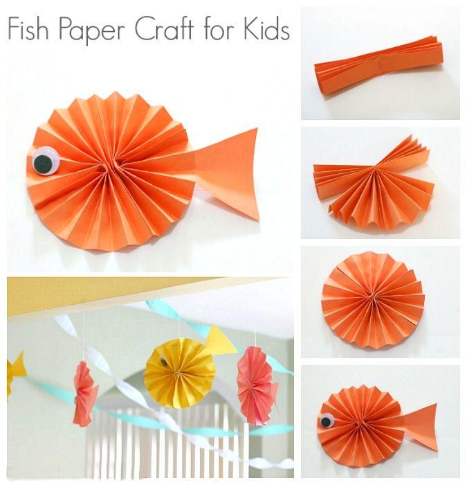 Fish Paper Craft For Kids Summer Activities For Kids Pinterest