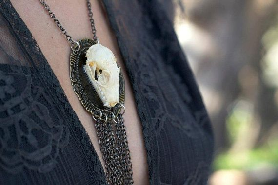 Real Bat Skull Necklace by CreationsByRavenJade on Etsy, $40.00
