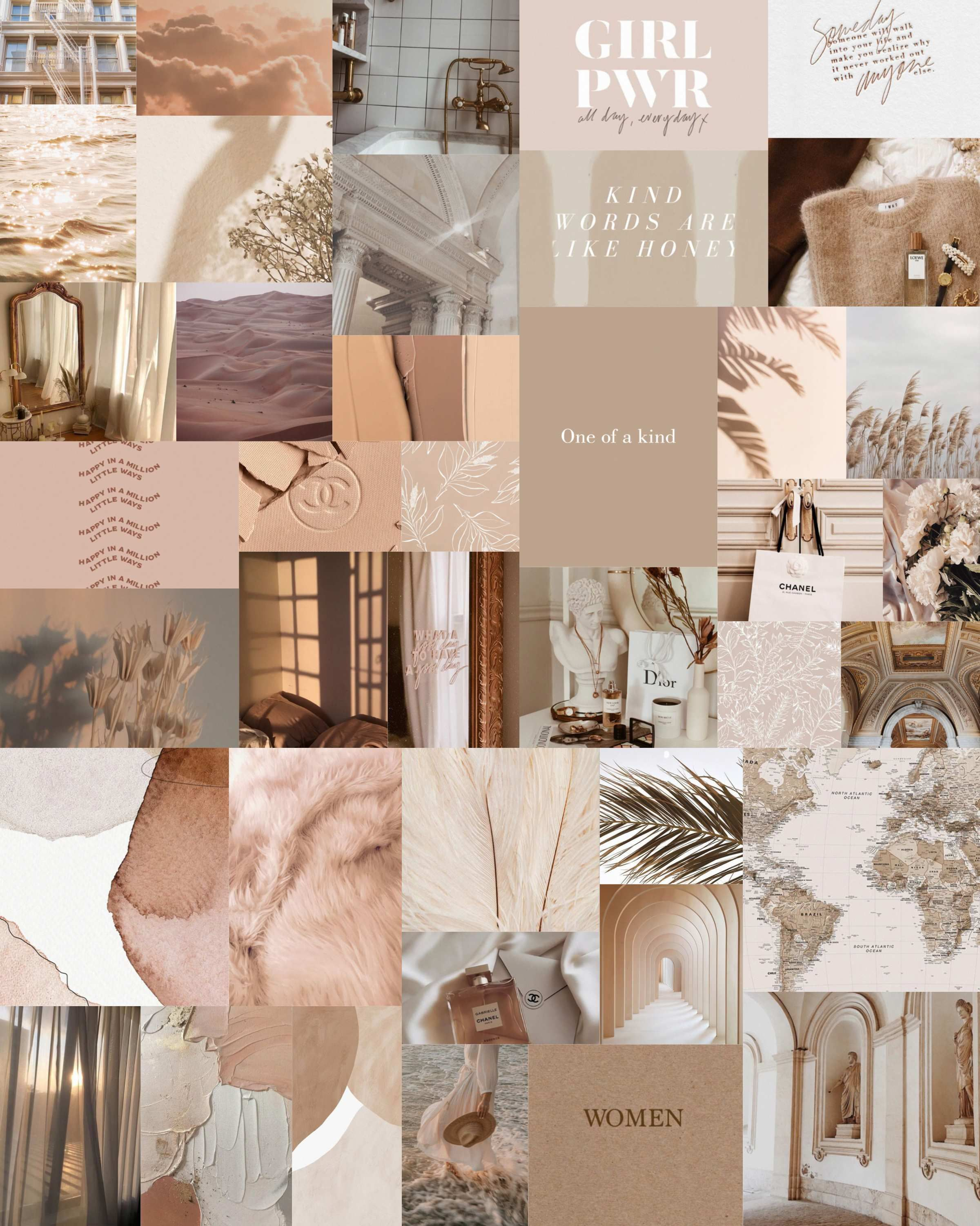 Beige Aesthetic Wall Collage Kit, 40 Pcs