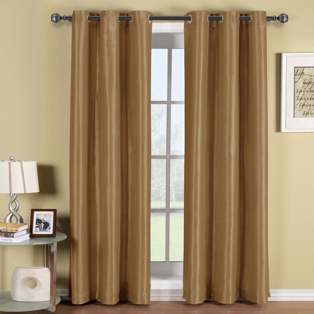 Blackout Window Curtain Panel Soho Mushroom Brown Grommet Style