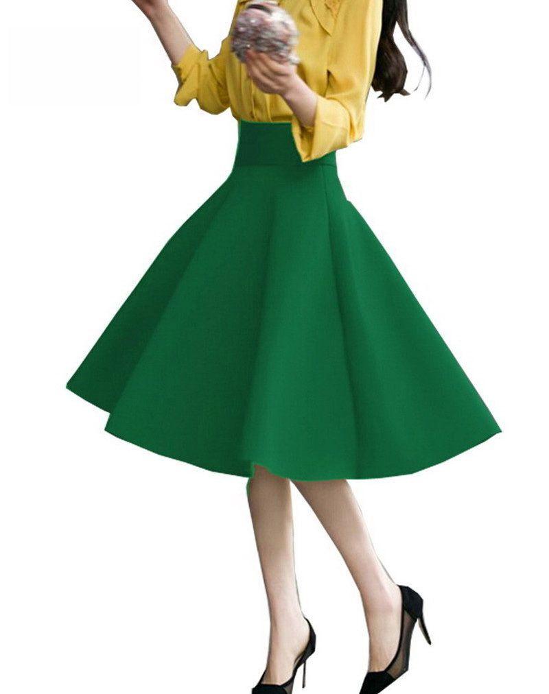 8bef0047222 High Waist Pleat Elegant Skirt Green Black White Knee-Length Flared Skirts  Fashion Women Faldas Saia 5XL Plus Size Ladies Jupe  Affiliate