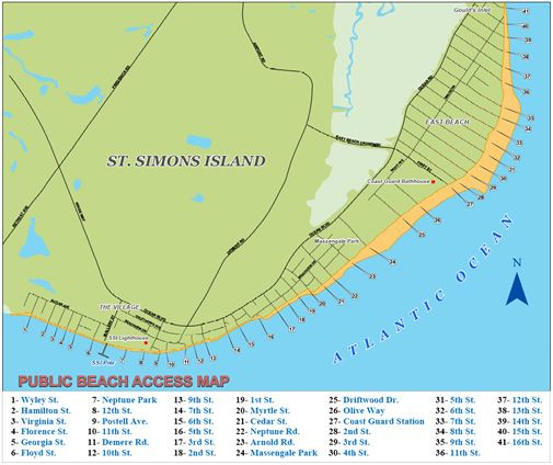 St Simons Public Beach Access Map