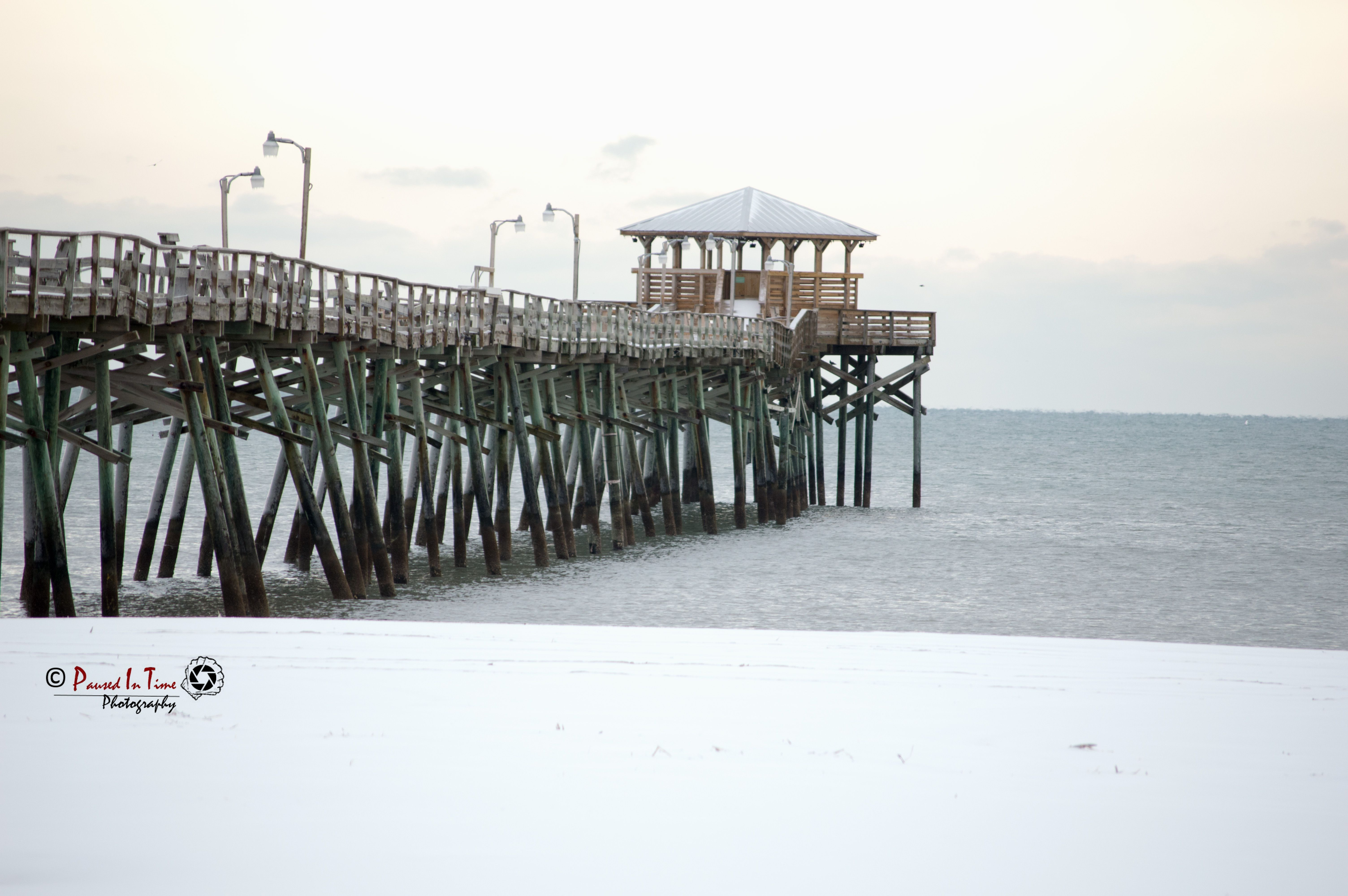 Oceana Pier On Atlantic Beach Nc During The Snow Days In January 2017