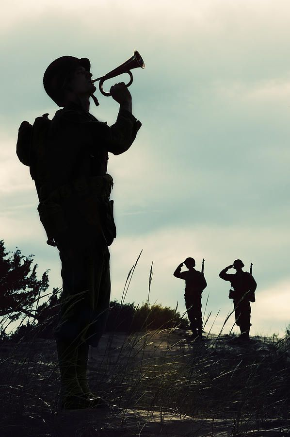 wwii-soldier-playing-taps-at-days-end---silhouette-kriss-russell ...