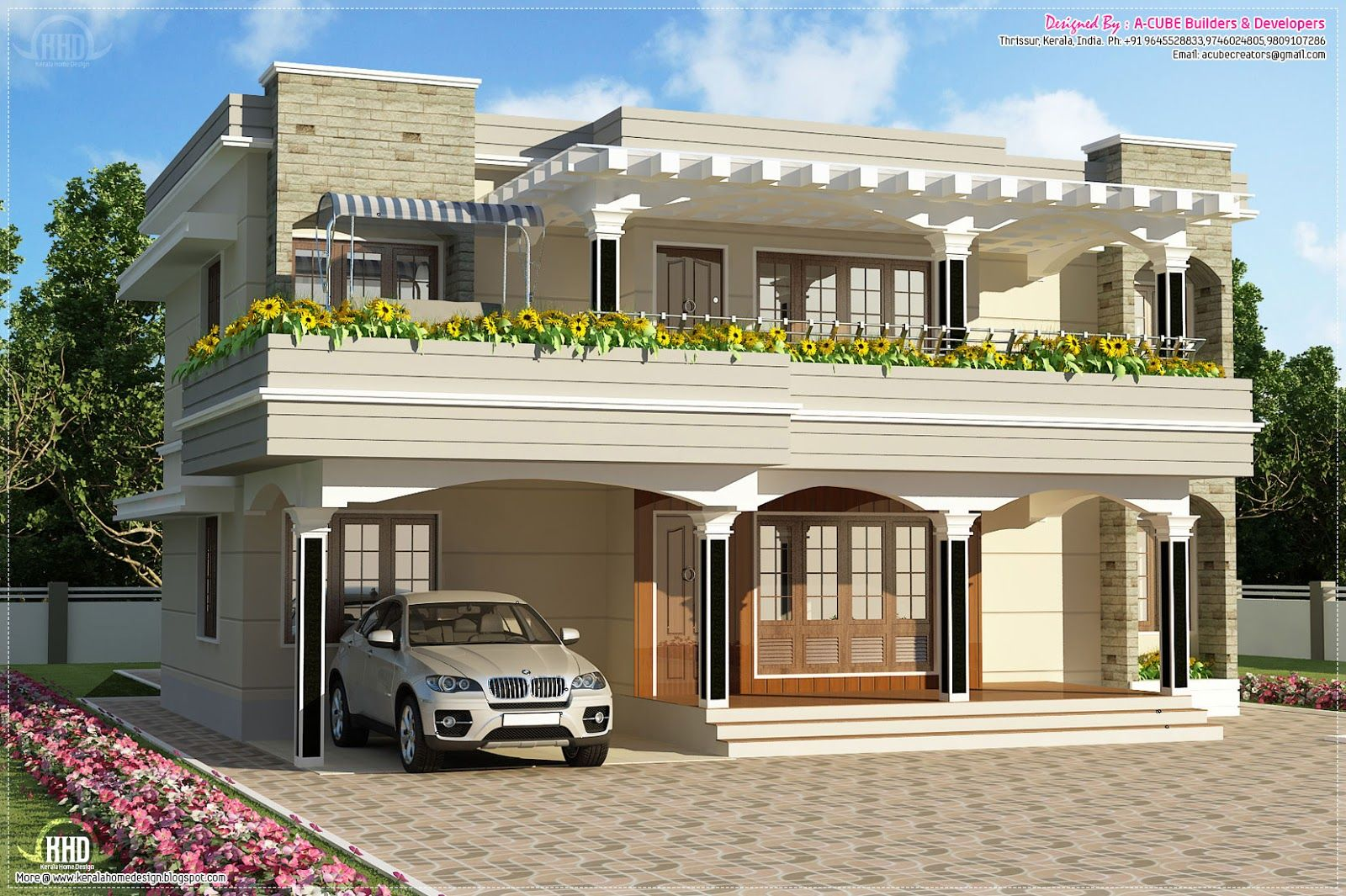 Front porch pergola elevation design drawing coveragehd for Kerala home design flat roof elevation