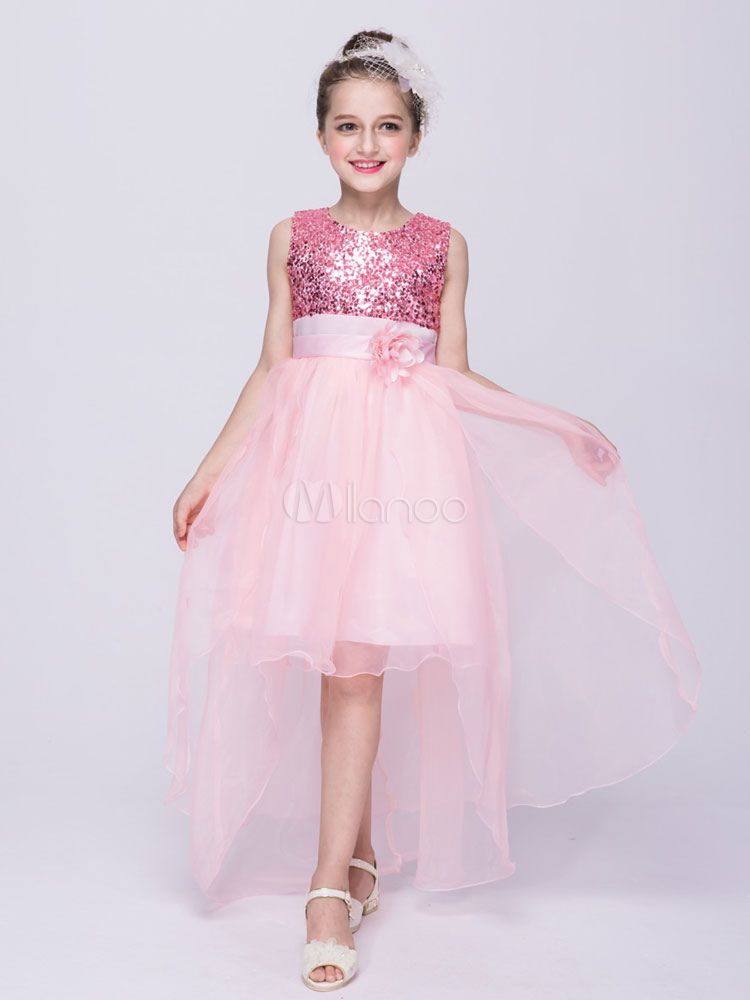 Flower Girl Dresses Red Sequin High Low Kids Pageant Dress Ribbon ...