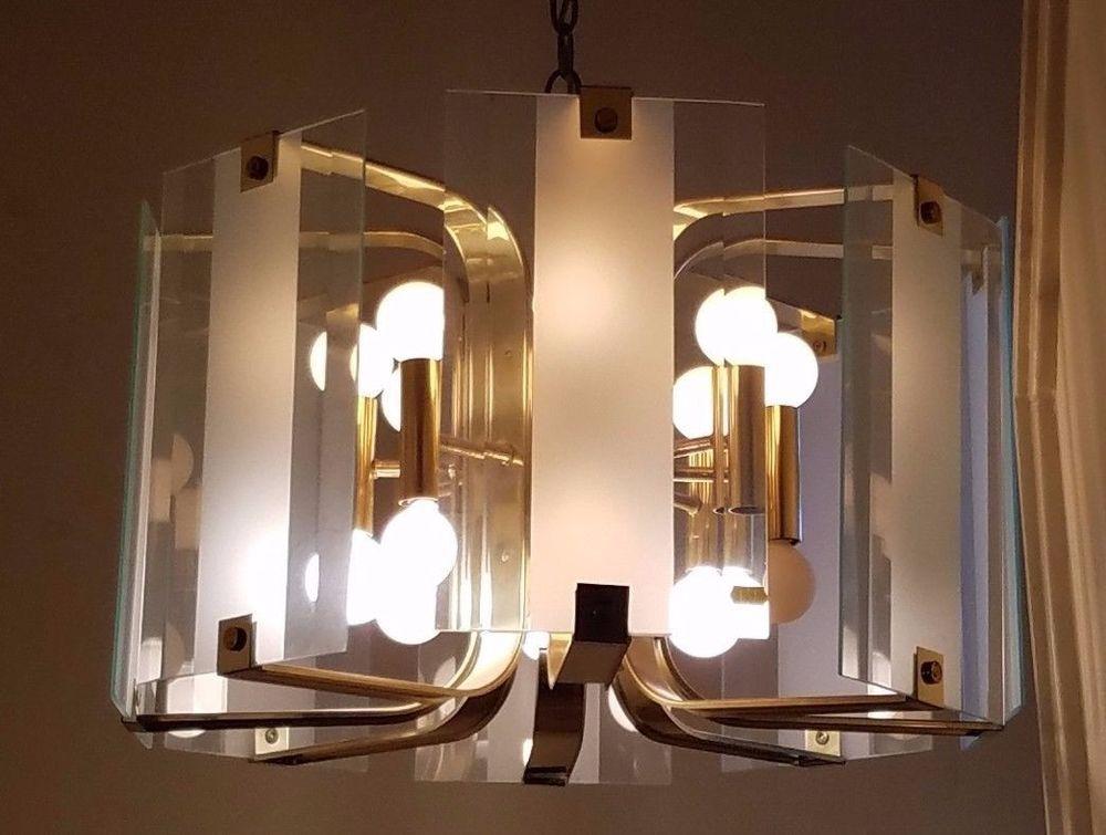 Vintage Mid Century Modern Light Swag Glass Pane Chandelier Brass Lamp Fixture