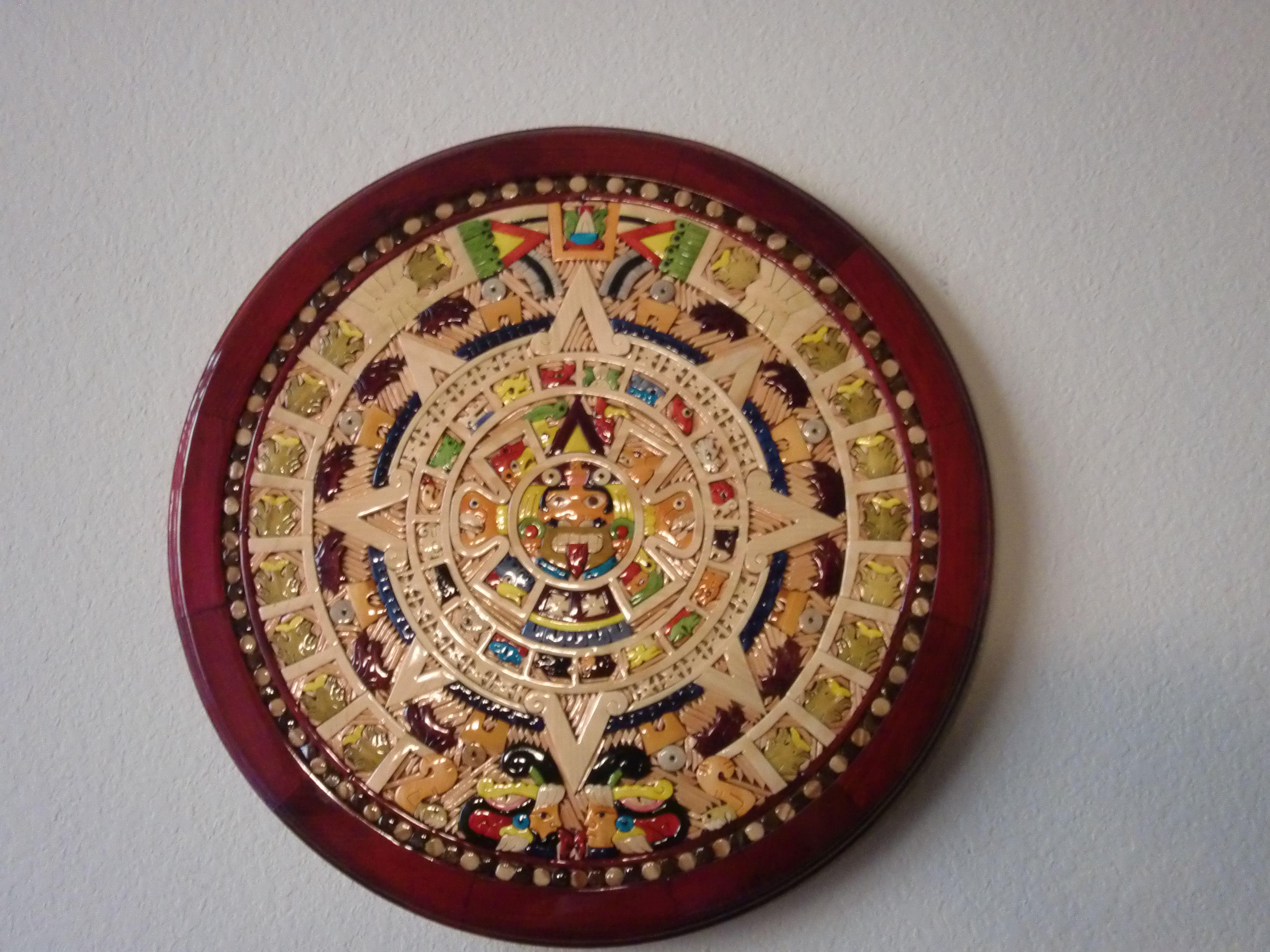 Wooden Aztec calendar made by mexican artesans from Puerto Vallarta.