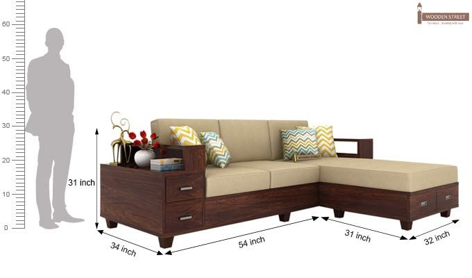 Buy Solace L Shaped Wooden Sofa Walnut Finish Online In India Wooden Street Diy Furniture Bedroom Wooden Sofa Designs Living Room Sofa Design