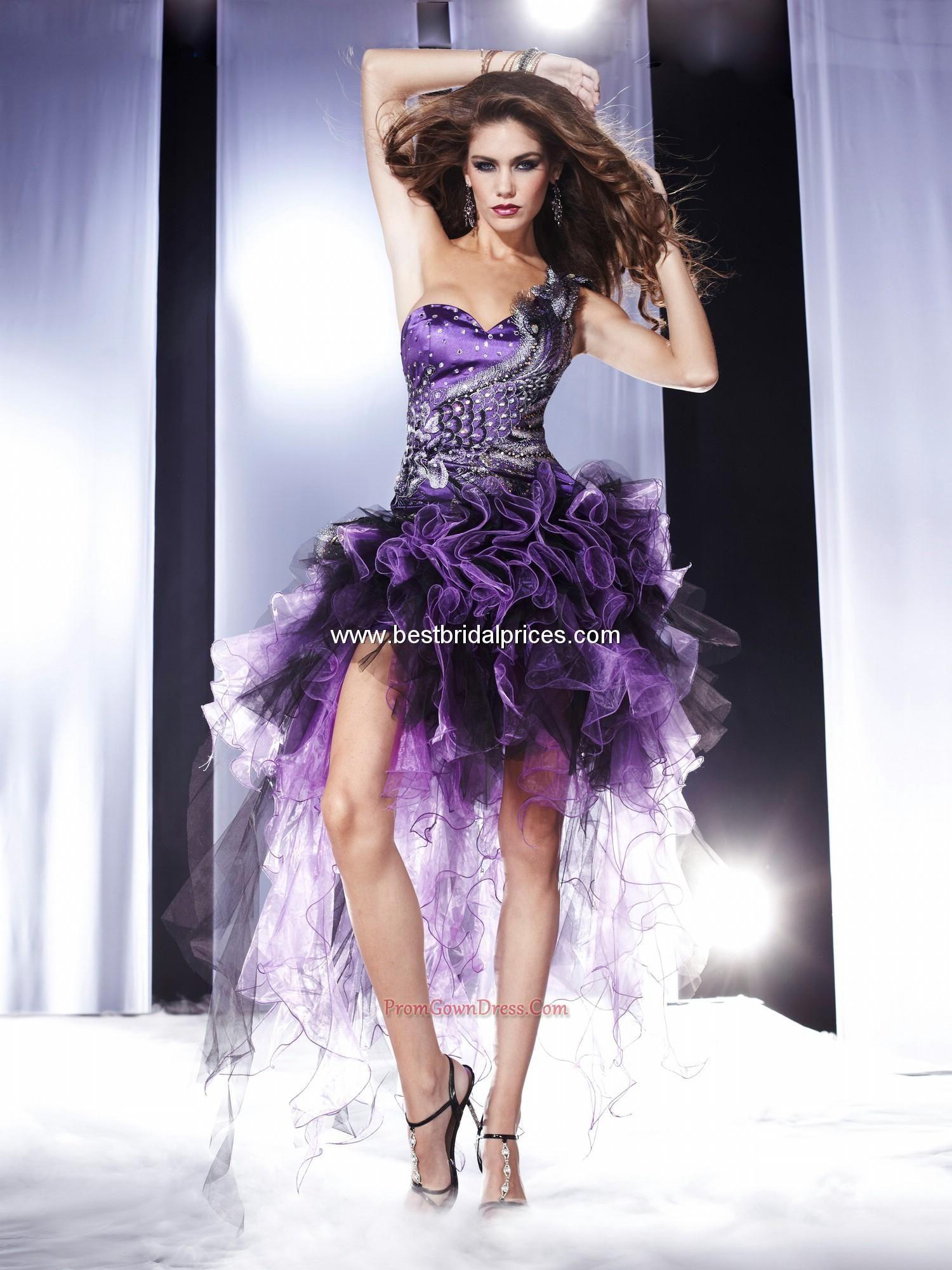 Gorgeous purple one shoulder short prom homecoming dressdark purple