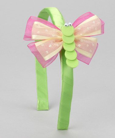 Take a look at this Green & Pink Butterfly Headband & Clip by Picture Perfect Hair Bows on #zulily today!