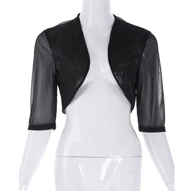 27bc174004982 Grace Karin Chiffon Bolero Women Coat Shrug Half Sleeve Black White Big  Size Short Jacket For Wedding Daily Prom Cropped Boleros