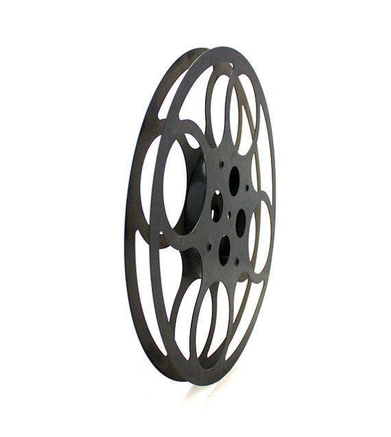 Vintage Dark GREY Large Metal Movie Reel