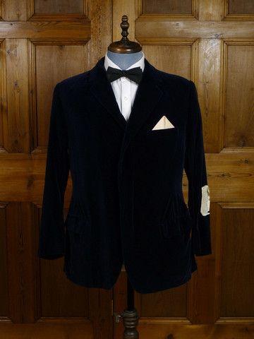 'Unfinished' 1971 Savile Row Bespoke Blue Silk-Velvet Evening / Smoking Jacket