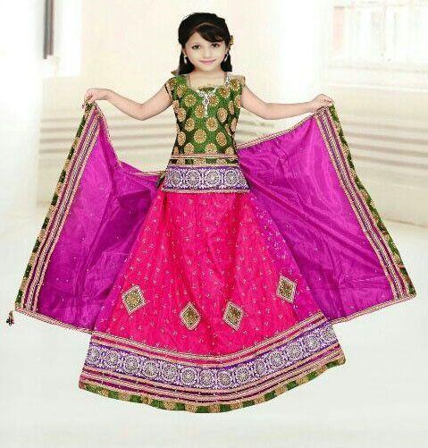Green & Pink Net Readymade Lehenga Choli with matching Dupatta
