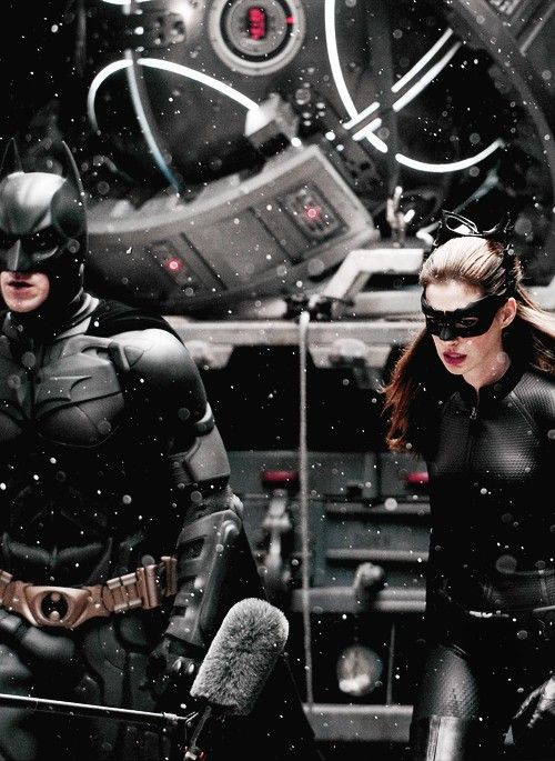 Christian Bale and Anne Hathaway filming The Dark Knight Rises