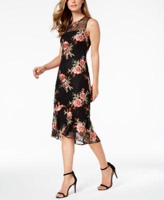 345e18e7 Embroidered-Lace Illusion Sheath Dress   Products   Lace dress black ...