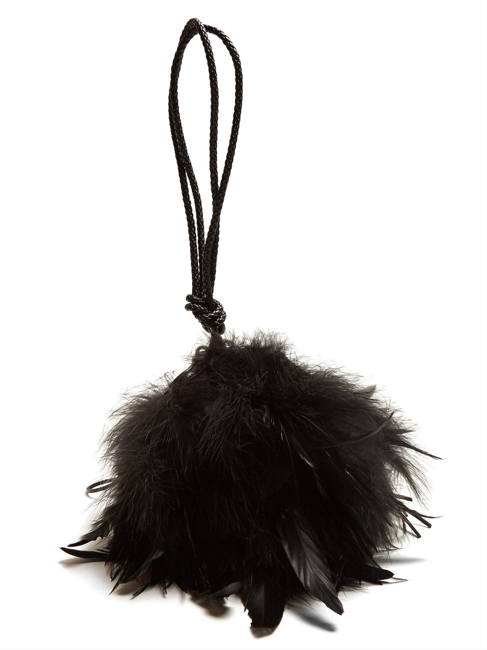 Mansour feather-embellished clutch Saint Laurent ZhRXF