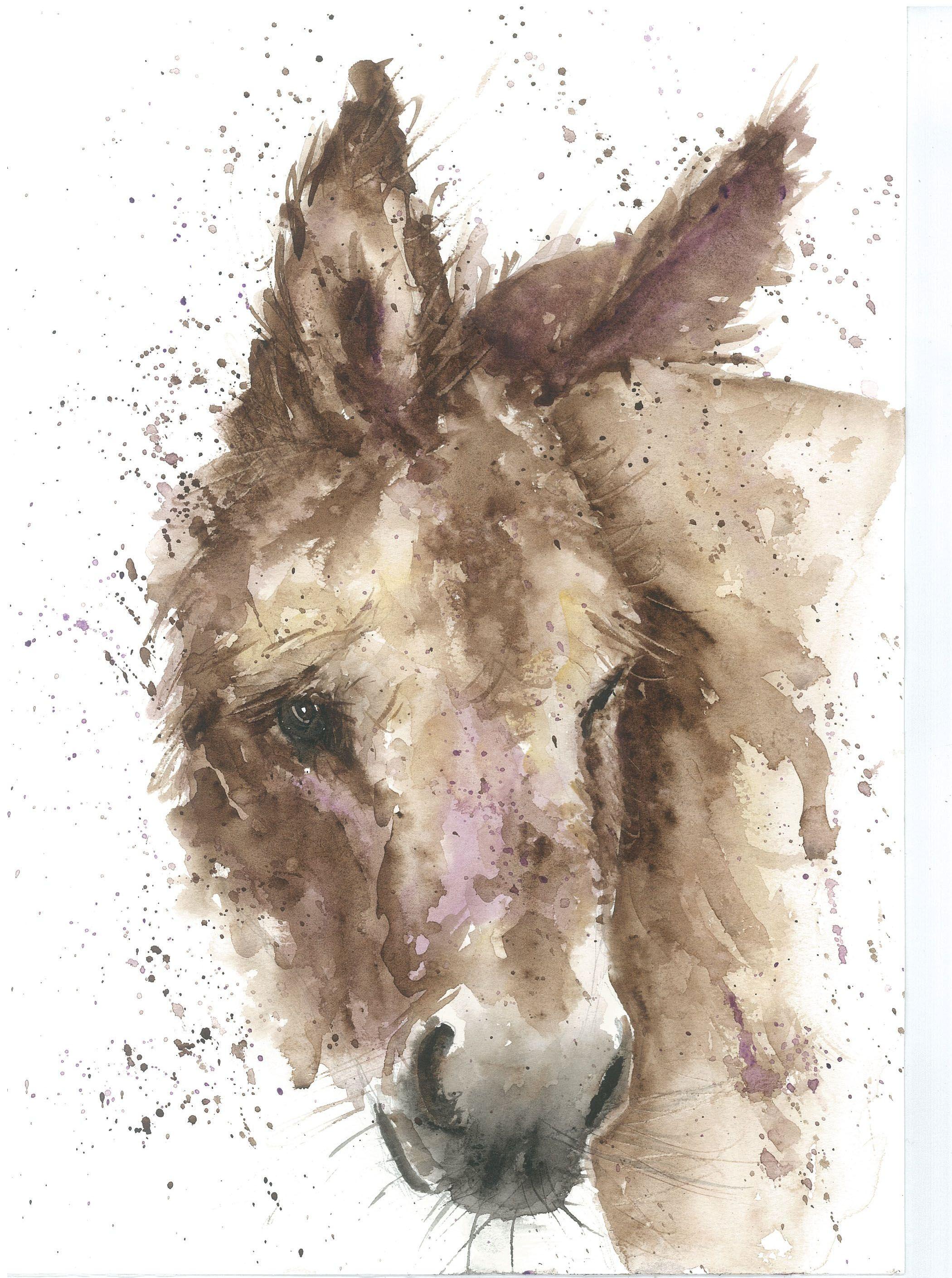 Donkey Print Watercolour Art Illustration Home Decor