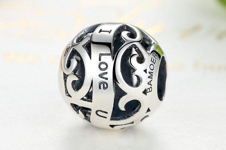 I Love U Openwork Bead Silver Charms Fit Bracelets