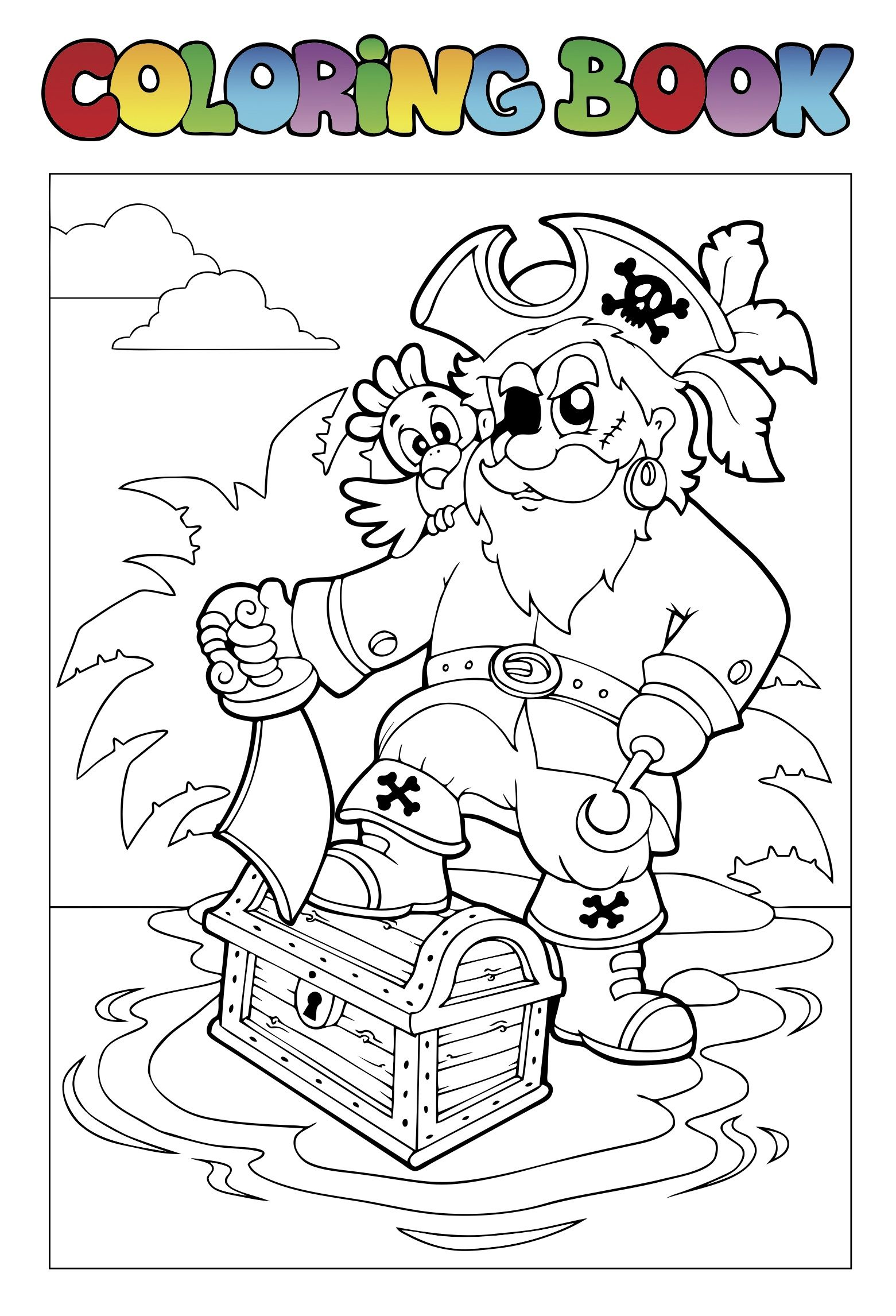 free pirate treasure chest coloring page for kids preschool