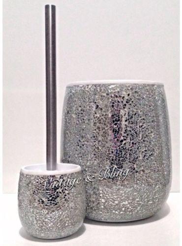 silver crackle bathroom accessories. Silver Crackle Mirror Glass Bathroom Sparkle Glitter Bin New  Next Day Post EBay