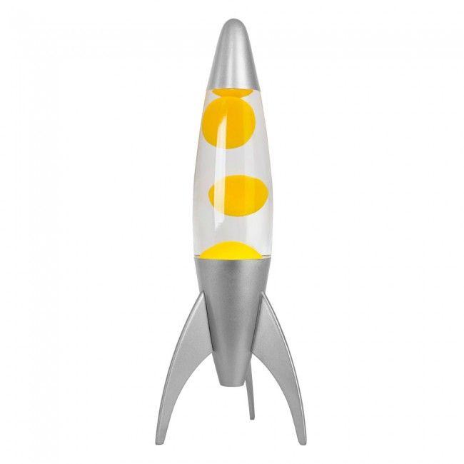 Retro Style Chrome Rocket Lava Lamp With Yellow Lava
