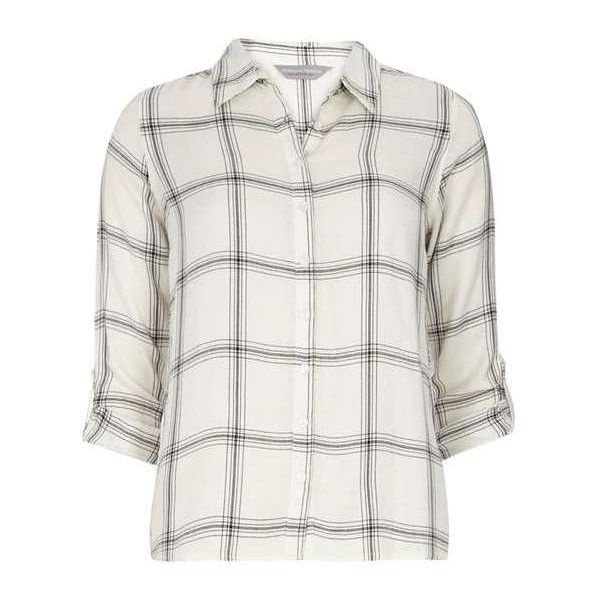 Petite ivory check shirt (€25) ❤ liked on Polyvore featuring tops, petite white shirt, dorothy perkins, checkered shirt, shirt top and white top