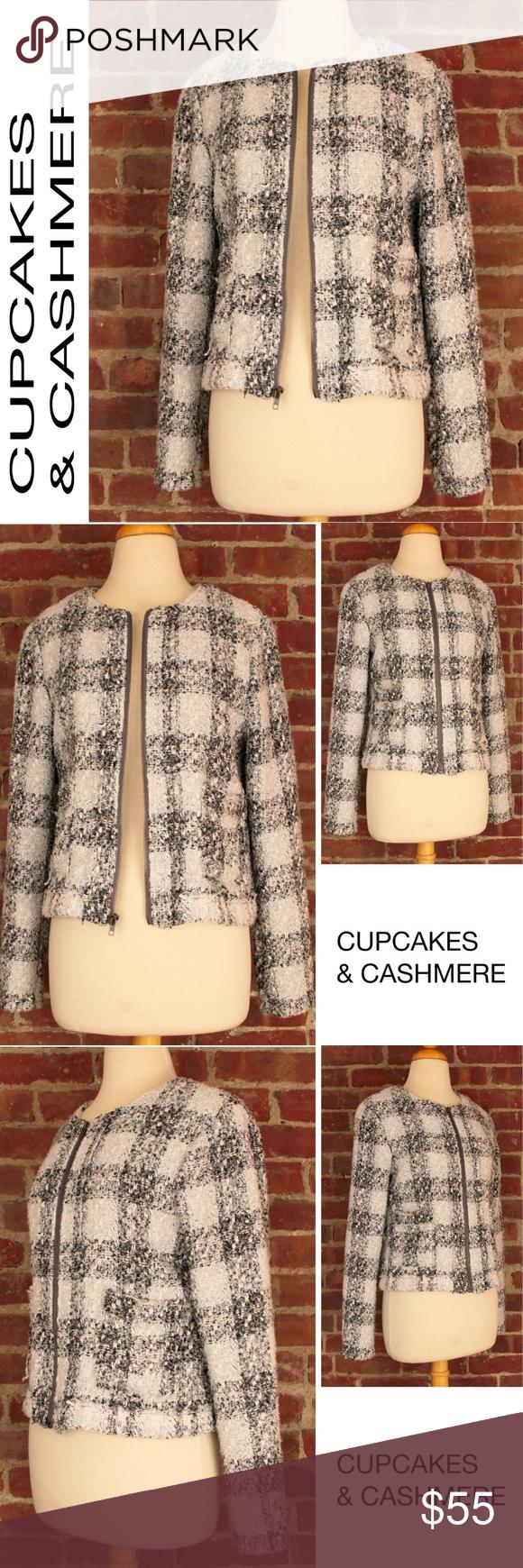 Wool cashmere flannel jacket  Tweed Black White Plaid Wool Crop Zipper Jckt   Cashmere jacket