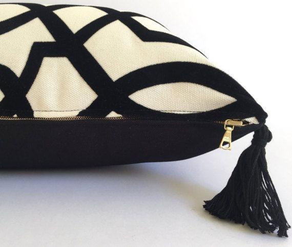 NEW Geometric Lumbar Pillow Cover Black and by HartleyJonesDesign