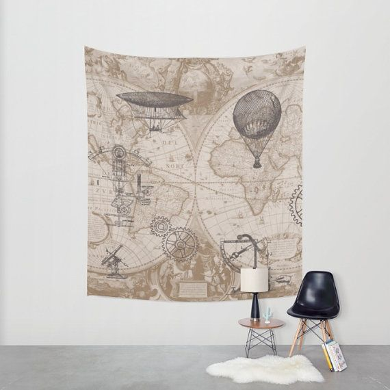 World Map Tapestry Wall Hanging world map tapestry wall hanging steampunk design antique map