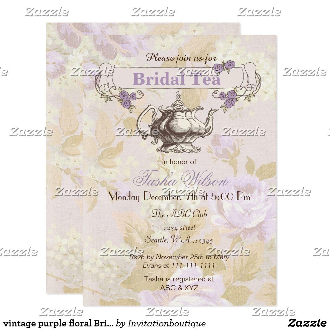 Vintage Purple Floral Bridal Tea Party Invites In 2018 Wedding