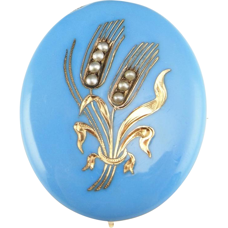 An important Victorian Bohemian Blue Enamel Sterling Silver, 14K Solid Gold and…