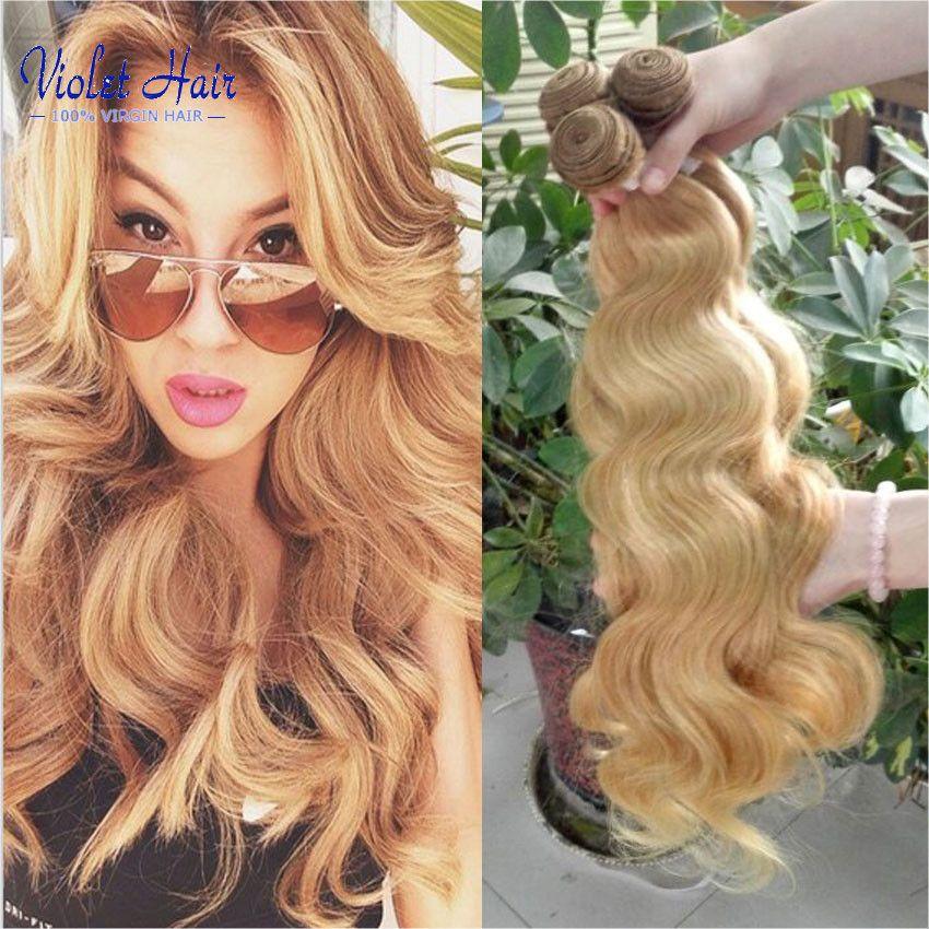 Brazilian Virgin Hair Color 27 Body Wave 3 Bundle Deals Honey Blonde