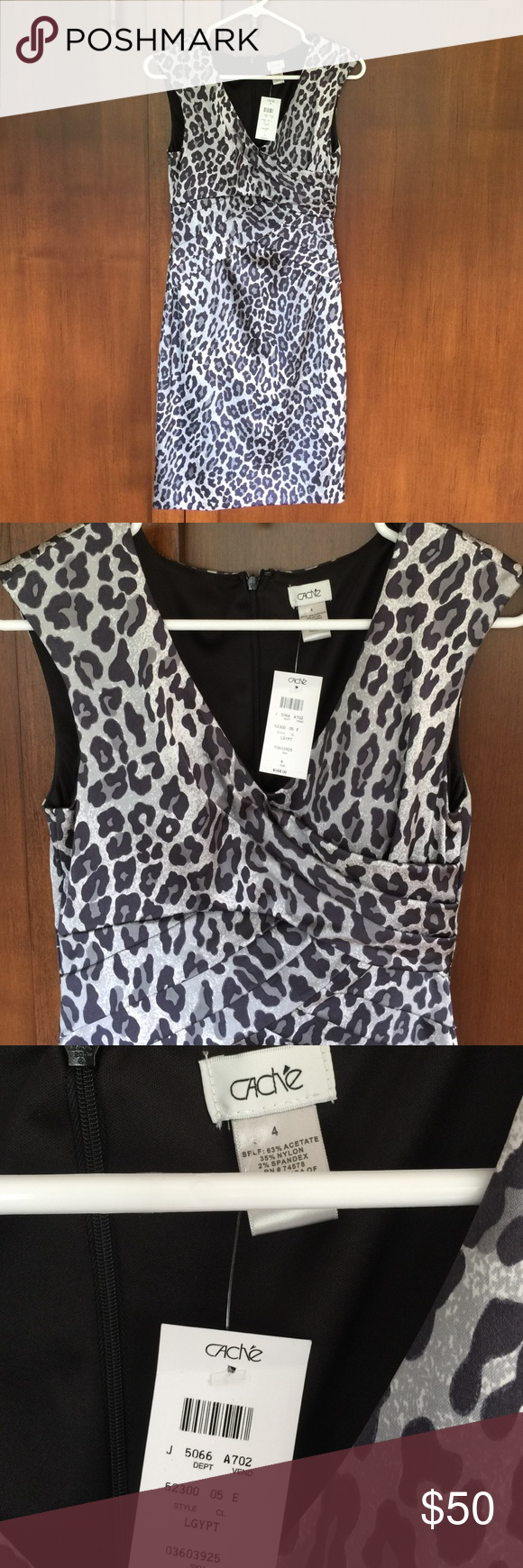 NWT-Cache dress Sexy leopard print dress. Gathered cross cross detail at bust , fully lined. Cache Dresses Midi