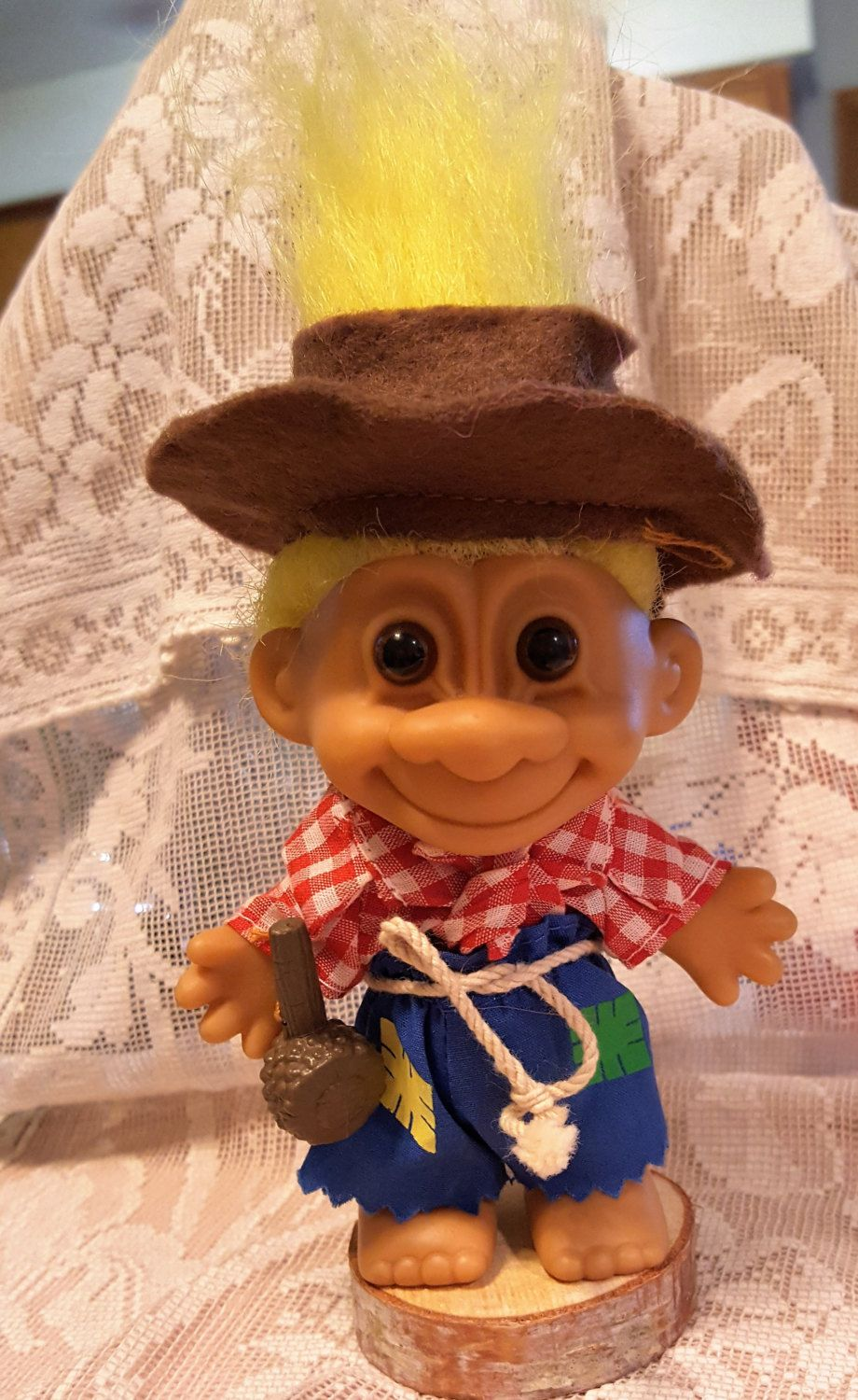 Russ Troll Hillbilly Farmer Doll With Corncob Pipe Original Rope Belt By Its42day On Etsy