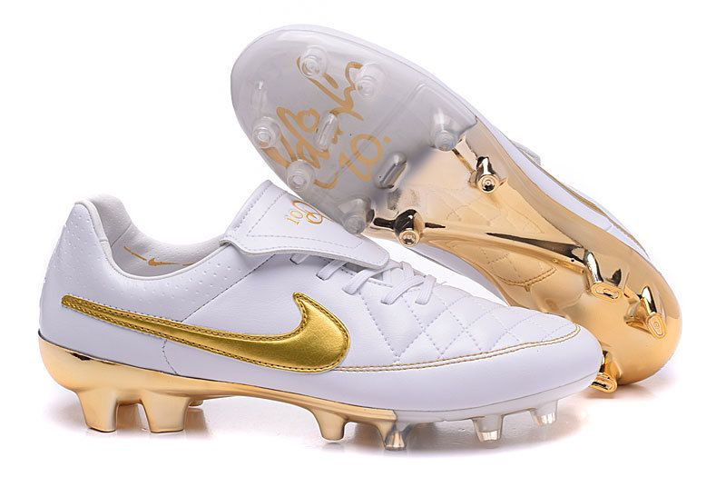 Nike Soccer Boots 2016 Tiempo R10 white gold limited edition FG Nail