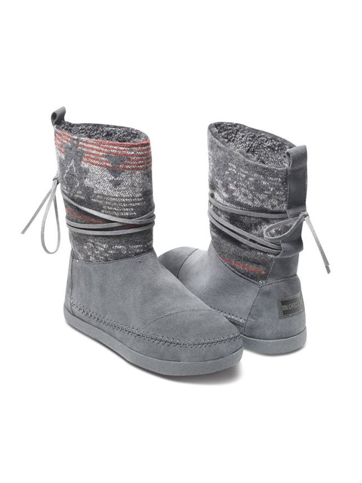 fb52103c0 Match the winter sky in TOMS women's Grey Suede Jacquard Nepal Boots ...