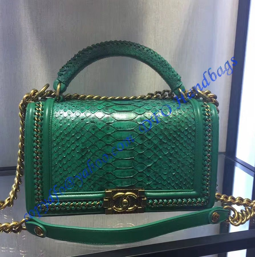 71b698b9f289 Boy Chanel Flapbag with handle in Green Python Leather and Bronze Metal  Hardware