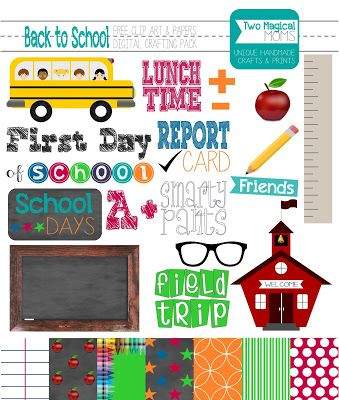 Free Back To School Clip Art And Papers Digital Crafting Pack Clip Art Freebies Happy Planner Stickers School Scrapbook