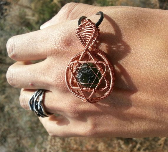 979a2dd669b48 Sacred Geometry Merkabah Wire Wrapped Moldavite by LakaiDesigns | My ...
