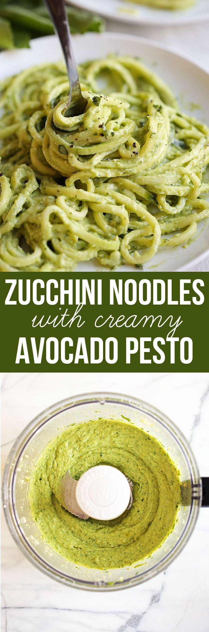Zucchini Noodles with Creamy Avocado Pesto | Eat Yourself Skinny