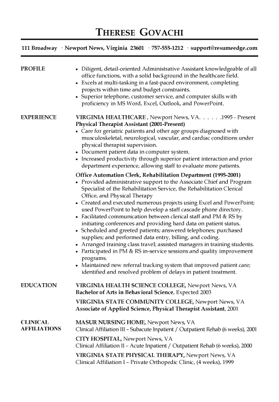 Below You Will Find The Receptionist Resume Example For An Administrative Professio In 2020 Job Resume Samples Administrative Assistant Resume Medical Assistant Resume