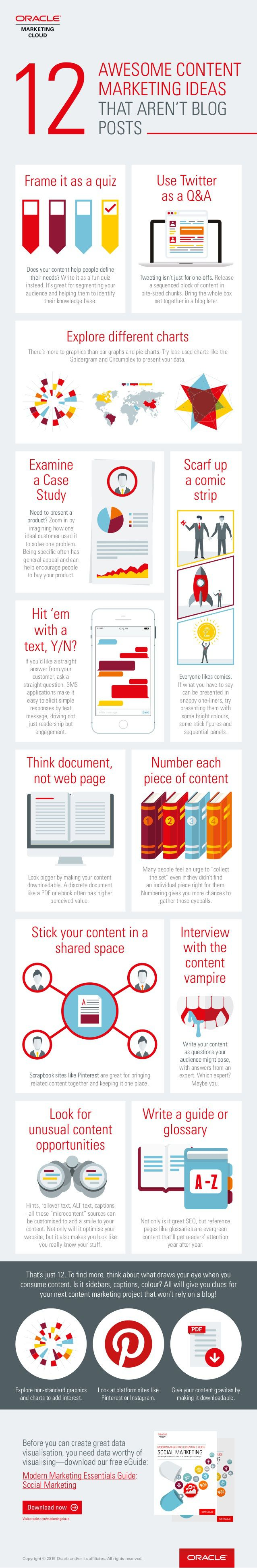 12 Awesome #content #marketing ideas that aren't blog posts [#infographic]