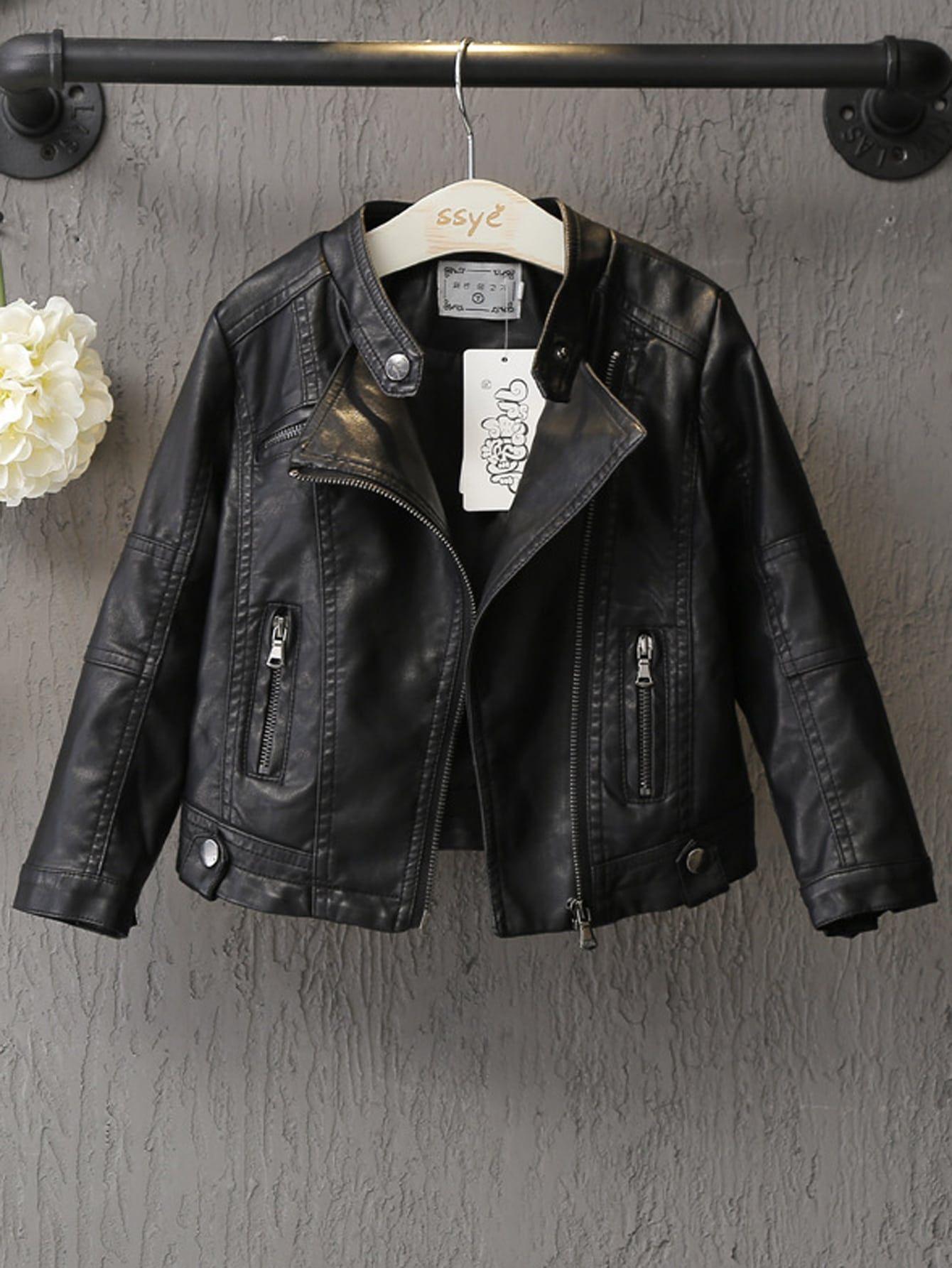 Toddler Girls Zip Up Pu Biker Jacket Black Faux Leather Moto Jacket Pu Biker Jacket Leather Moto Jacket [ 1785 x 1340 Pixel ]