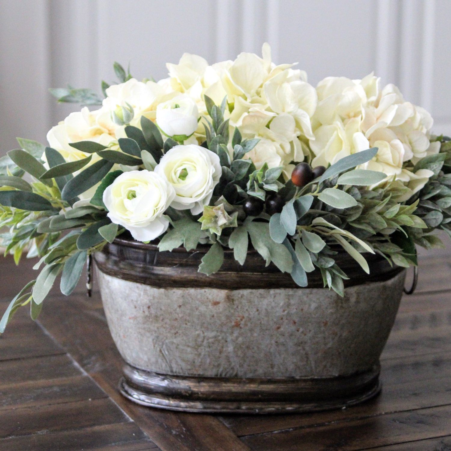 Hydrangeas Mini Ranunculus And Olive Stems Farmhouse Decor In