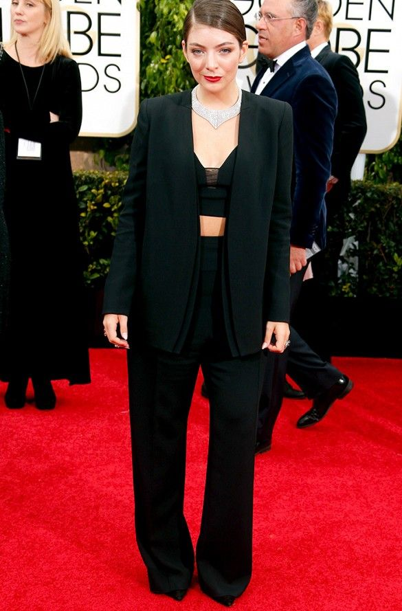 Lorde in a Narciso Rodriguez custom suit and Neil Lane jewelry at the 72nd Annual Golden Globes