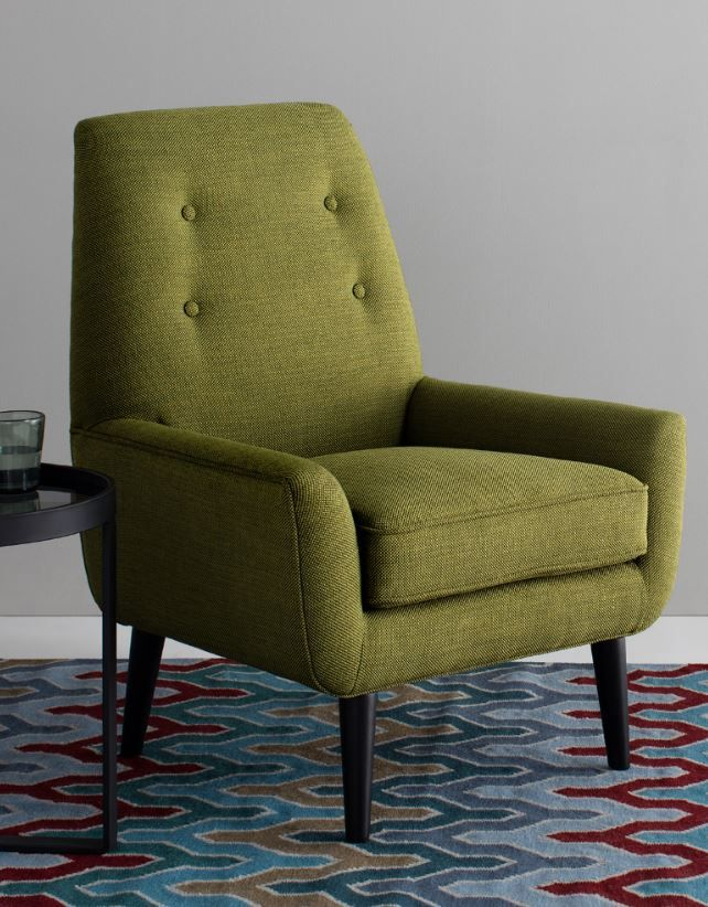 Olive Green Accent Chair Inspired By Mid Century Shapes And Angles, This Accent  Chair
