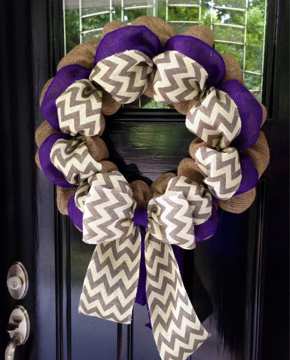 Photo of Items similar to Chevron Burlap Wreath 22 inch for front door or accent – Purple, White, Gray, and Natural on Etsy