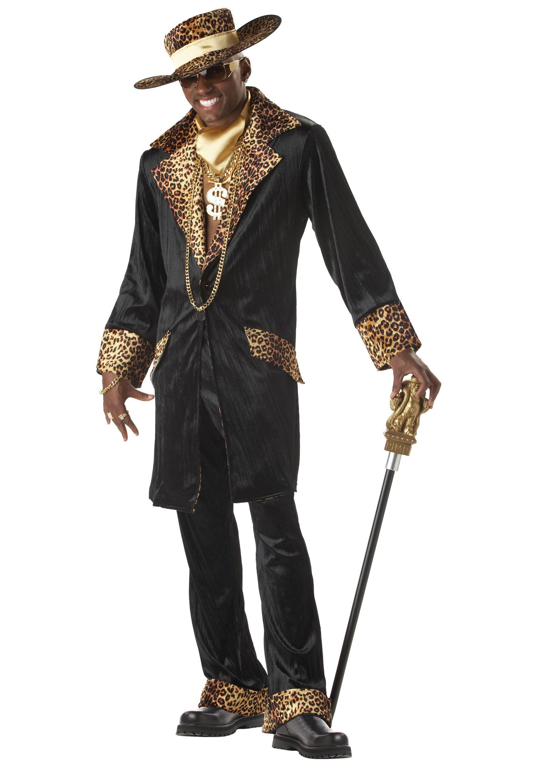 1970s Big Daddy Pimp Cane Gangster Mens Fancy Dress Costume Accessory Stag Party
